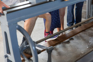 Fußantrieb der Drehmaschine